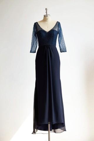 V Neck Elbow Length Sleeves Navy Blue Beaded Chiffon Tulle Wedding Mother Dress