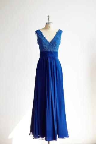 Sexy V Neck Royal Blue Lace Chiffon Long Bridesmaid Dress