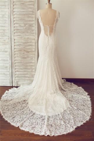 V Neck Backless Mermaid Lace Wedding Dress