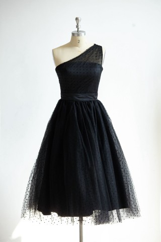 One Shoulder Black Polk Dot Tulle Short Tea Length Prom Party Dress