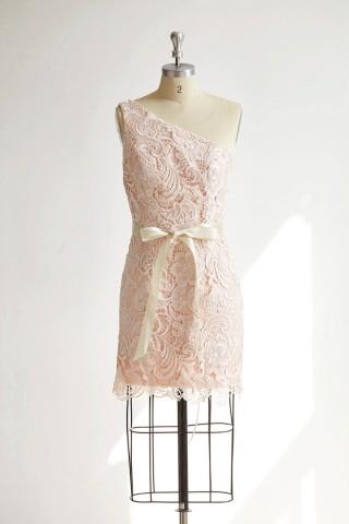 One Shoulder Ivory Lace Pink Ling Short Wedding Bridesmaid Dress