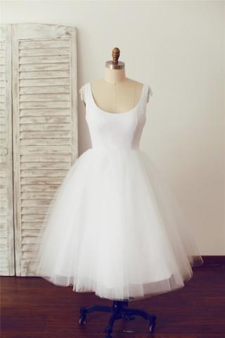 Vintage Scoop Backless Chiffon Tulle Lace Short Tea Length Wedding Dress