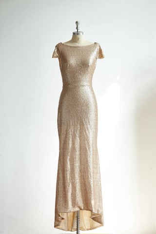 Cap Sleeves Champagne Gold Sequin Long Wedding Bridesmaid Dress/Prom Party Dress