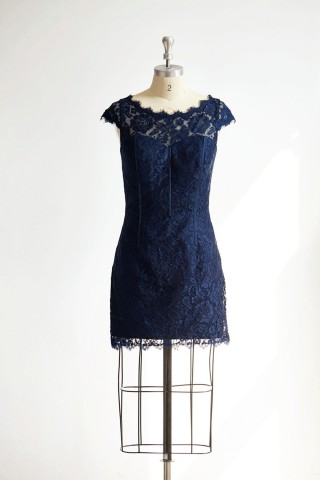 Cap Sleeves Keyhole Back Navy Blue Lace Short Knee Wedding Bridesmaid Dress