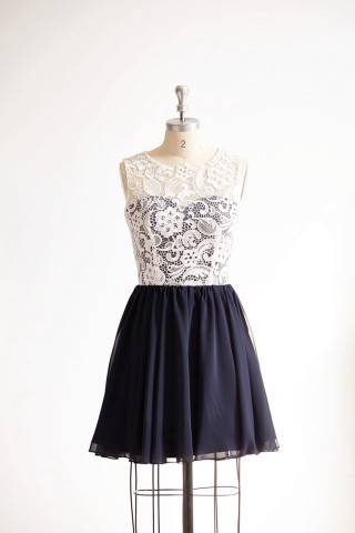 Ivory Lace Navy Blue Chiffon Short Knee Length Wedding Bridesmaid Dress