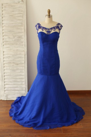 Backless Royal Blue Beaded Chiffon Mermaid Prom Dress