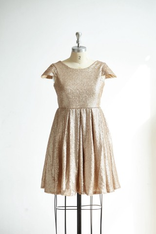 Cap Sleeves Champagne Gold Sequin Short Prom Party Cocktail Dress