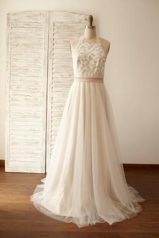 Backless Boho Beach Lace Tulle Wedding Dress