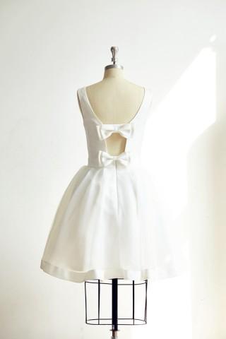 Backless Ivory Satin Organza Short Wedding dress Bridal Gown