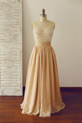 Sheer See Through Deep V Champagne Chiffon Beaded Prom Dress