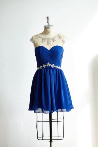 Sheer Illusion Neck Keyhole Back Royal Blue Chiffon Short Prom Party Dress