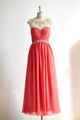 Sheer Illusion Sexy Backless Coral Chiffon Long Prom Party Dress