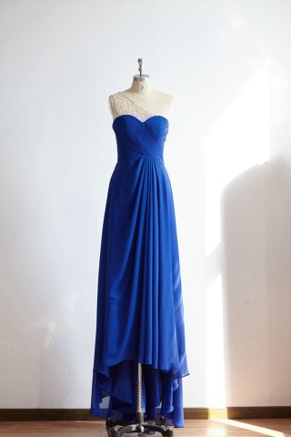 One Shoulder Royal Blue Beaded Chiffon Long Prom Party Dress