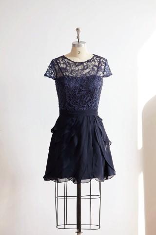Navy Blue Cap Sleeves Lace Chiffon Wedding Bride Short Mother Dress