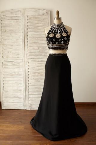 2 Pieces Black Beaded Chiffon Prom Dress
