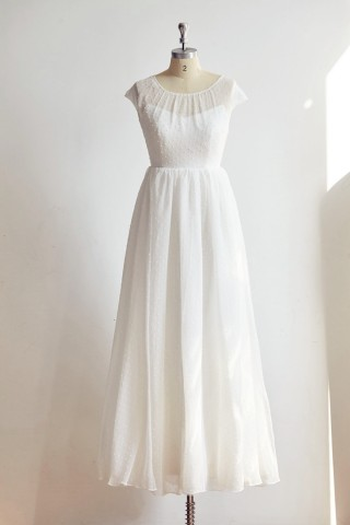 Cap Sleeves Polk Dot Chiffon Wedding dress Bridal Gown
