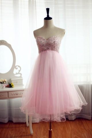 Strapless Pink Tulle Bridesmaid Dress Prom Dress Beading Dress Knee Length Short Dress