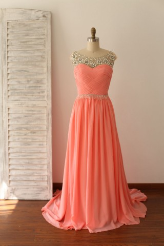 Beaded Coral Chiffon Long Prom Dress