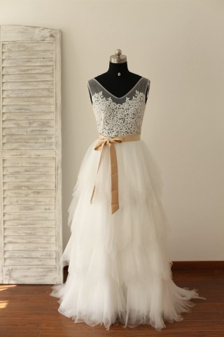 Sheer See Though Ivory Lace Tulle V Back Wedding Dress with champagne sash