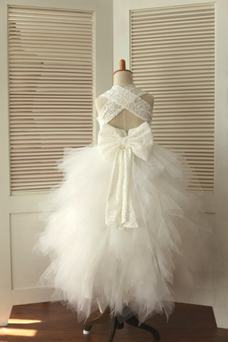 Princess Cross Back Ivory Lace Ruffle Tulle Skirt Flower Girl Dress with big bow