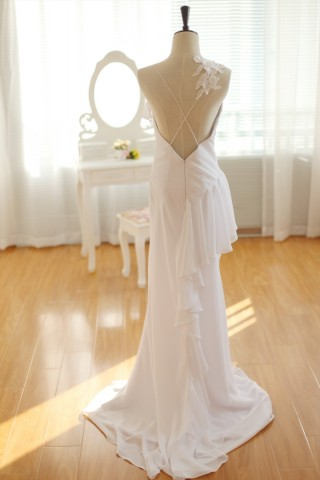 Simple Ivory Chiffon Wedding Dress Backless Dress with Lace Flower detail