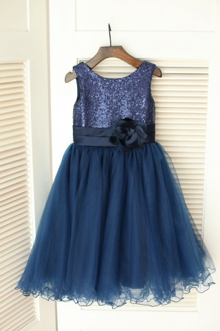 Navy Blue Sequin Tulle Wedding Flower Girl Dress