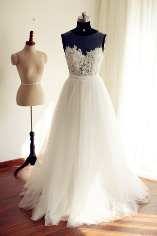 Sheer See Through  Ivory Lace Tulle Wedding Dress