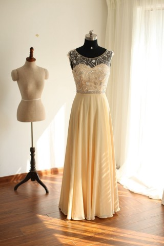 Sheer See Through  Backless Champagne Chiffon  Long Wedding Bridesmaid Dress