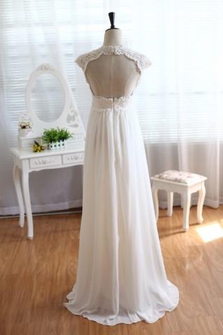 Lace Chiffon Wedding Dress Keyhole Back Empire Waist Maternity Dress