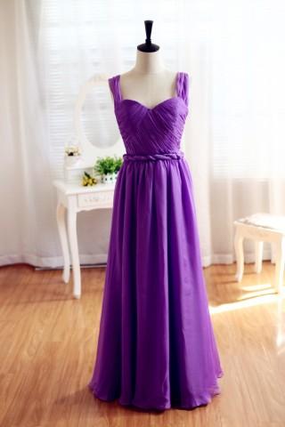 Purple Chiffon  Bridesmaid Dress Prom Dress Backless Dress