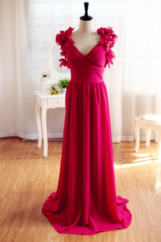 Red Chiffon Open Back Backless Bridesmaid Dress Prom Dress
