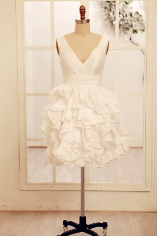 Deep V Neck Ivory Taffeta Ruffle Knee length Short Wedding dress