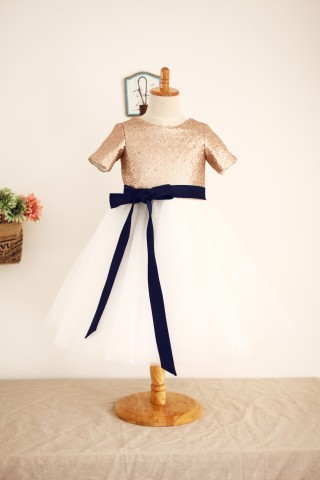 Short Sleeves  Mate Champagne Sequin Tulle Flower Girl Dress with navy blue sash