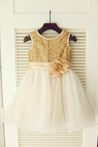 Gold Sequin Ivory Tulle Wedding Flower Girl Dress with Champagne belt