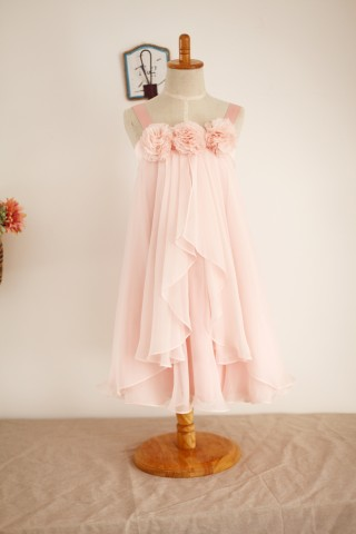 Boho Beach Blush Pink Thin Straps Chiffon Flower Girl Dress