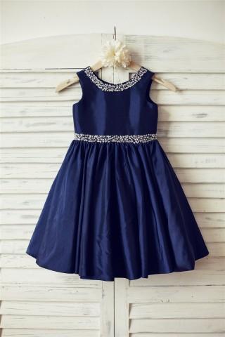 Beaded Navy Blue Taffeta Flower Girl Dress