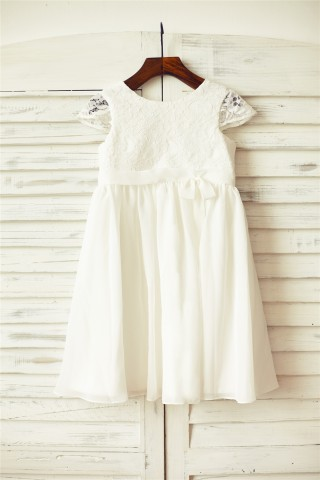 Ivory Lace Chiffon Flower Girl Dress with Cap Sleeves