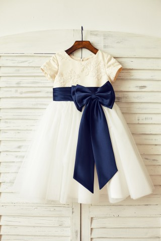 Ivory lace Tulle Flower Girl Dress with short sleeves/big navy blue bow