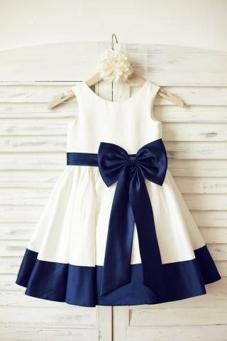 Ivory Satin Flower Girl Dress with navy blue belt/bow