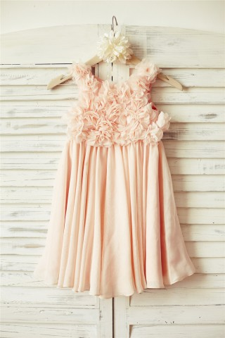 Boho Beach Blush Pink Chiffon Floral Straps Flower Girl Dress