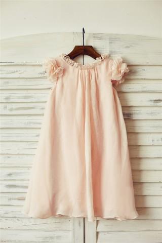 Boho Beach Blush Pink Chiffon Flower Girl Dress with Butterfly Sleeves
