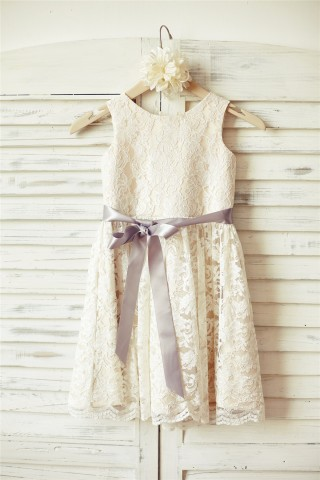 Ivory Lace Champagne lining Flower Girl Dress with silver sash