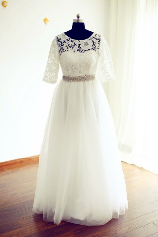 Long Elbow Sleeves Ivory Lace Tulle Wedding  Dress with beaded sash