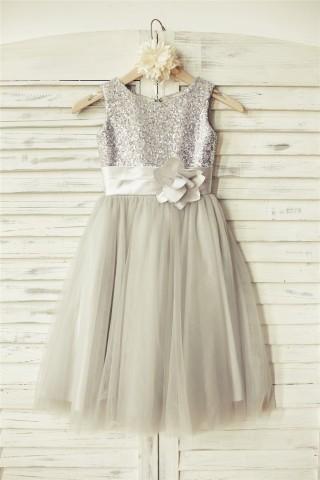 Silver Sequin Gray Tulle Flower Girl Dress