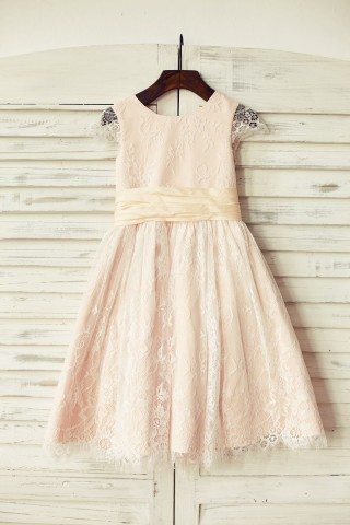 Blush Pink Satin Ivory Lace Cap Sleeves Flower Girl Dress with peach sash