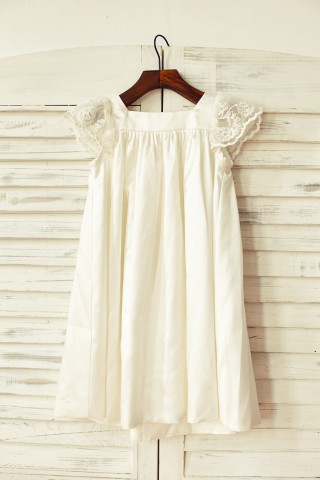 Ivory Satin Cap Sleeves Flower Girl Dress