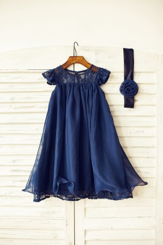 Navy Blue/Ivory/Blush Pink/Grey Lace Chiffon Flower Girl Dress with Cap Sleeves
