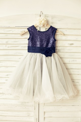 Navy blue  Sequin Ivory Tulle Flower Girl Dress with navy blue belt