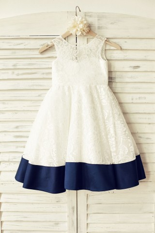 Deep V Back Ivory Lace Flower Girl Dress with navy blue bow