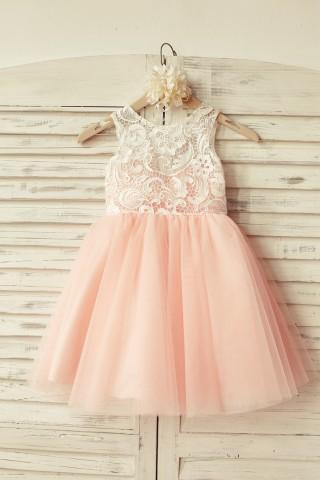 Princess Ivory Lace Blush Pink Tulle Flower Girl Dress